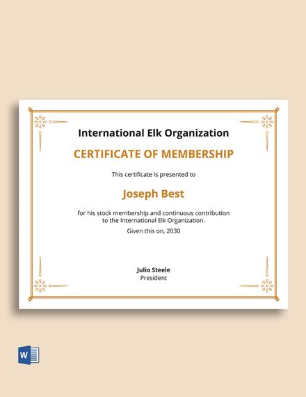 Membership Stock Certificate Template