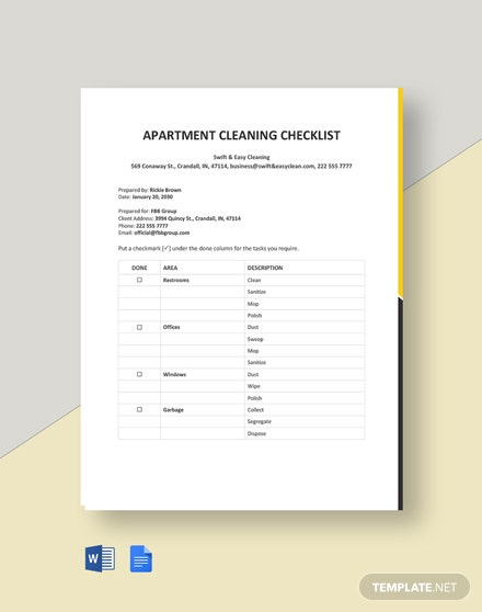 Apartment Cleaning Checklist Template