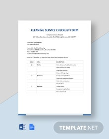 Cleaning Service Checklist Form Template