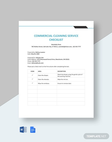 Commercial Cleaning Service Checklist Template  - Google Docs, Word