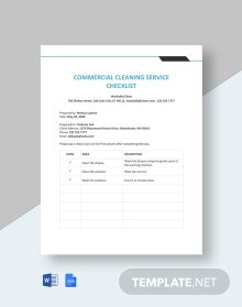 Commercial Cleaning Service Checklist Template