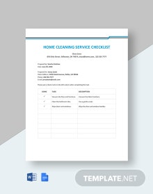 Free Home Cleaning Service Checklist Template