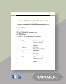 House Cleaning Service Checklist Template