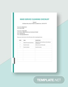 Free Maid Service Cleaning Checklist Template