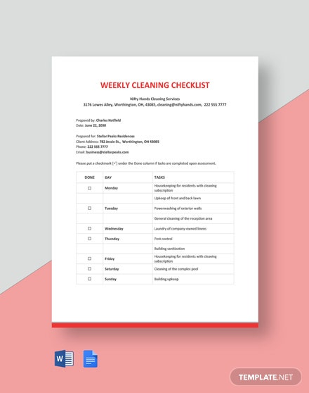 Free Weekly Cleaning Checklist Template