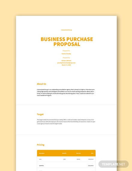 Free Business Purchase Proposal Template