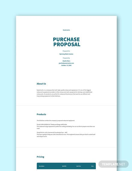 Free Purchase Proposal Template