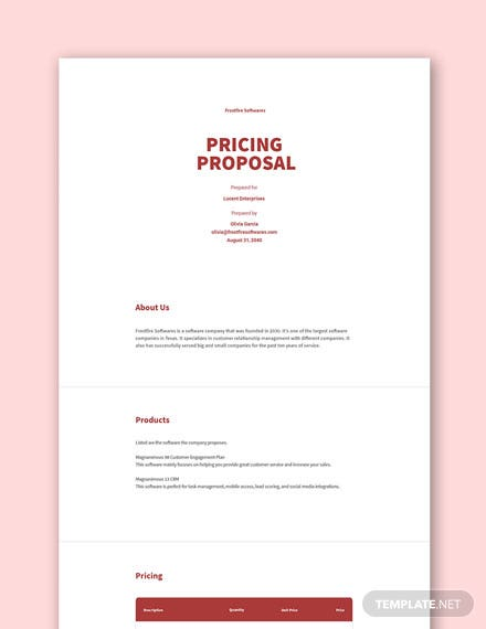 Free Pricing Proposal Template
