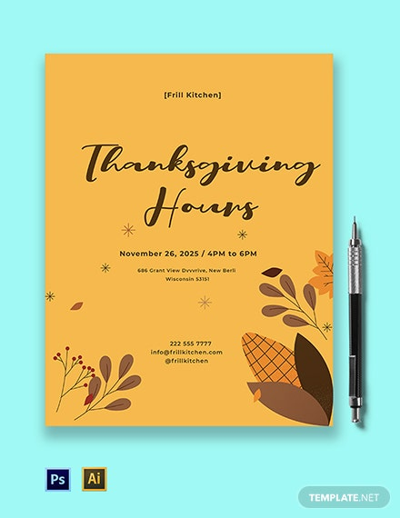 Thanksgiving Hours Flyer Template
