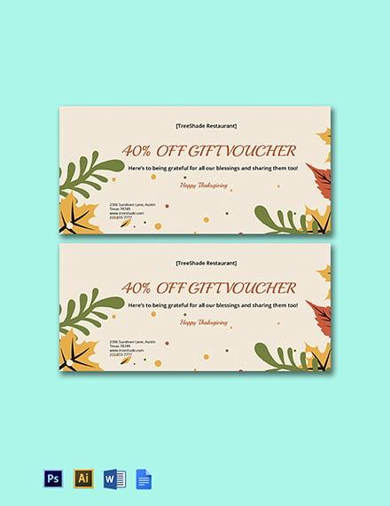 Thanksgiving Gift Voucher Template