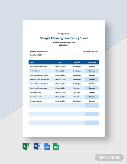 Free Sample Cleaning Service Log sheet Template
