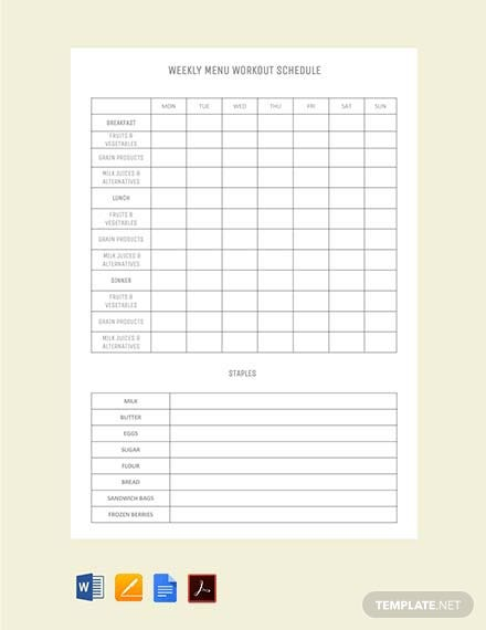 Weekly Menu Workout Schedule Template