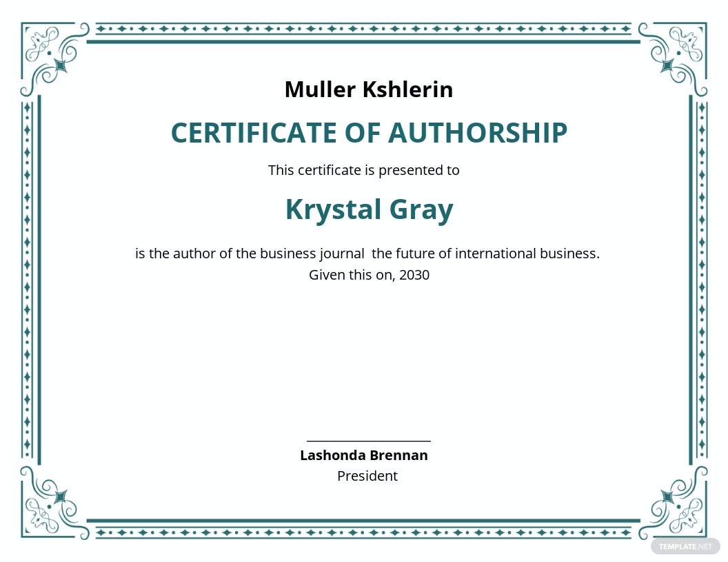Certificate Of Authorship Template