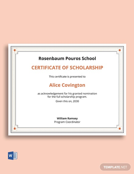 Certificate Of Scholarship Letter Template