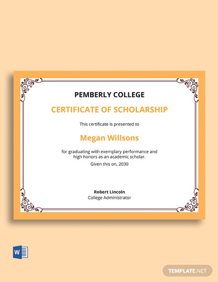 Scholarship Information For Certificate Template