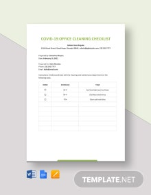 COVID-19 Office Cleaning Checklist Template