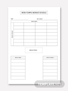 Weekly Sample Workout Schedule