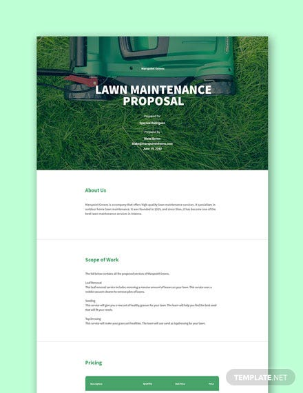 Free Lawn Maintenance Proposal Template