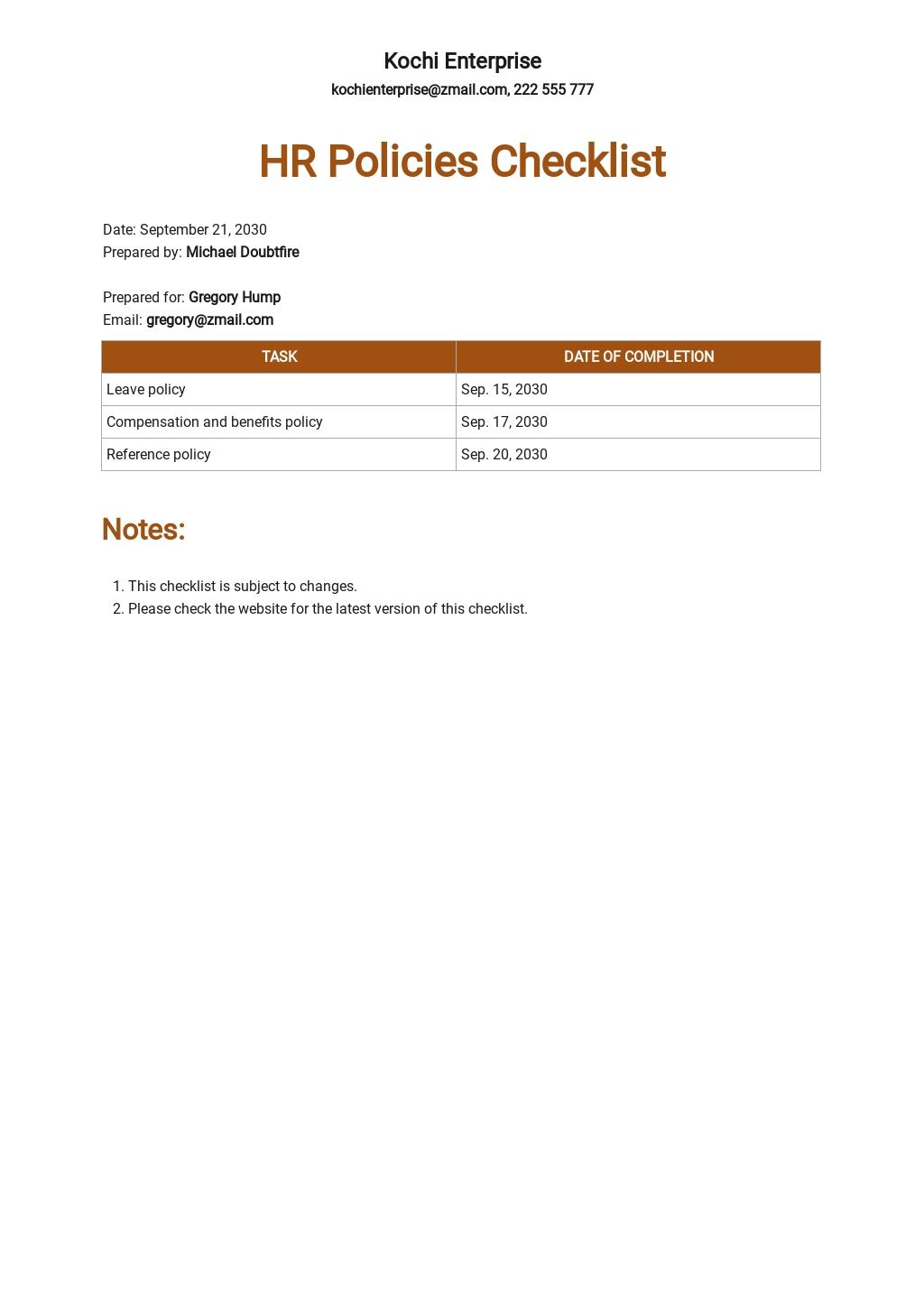HR Policies Checklist Template