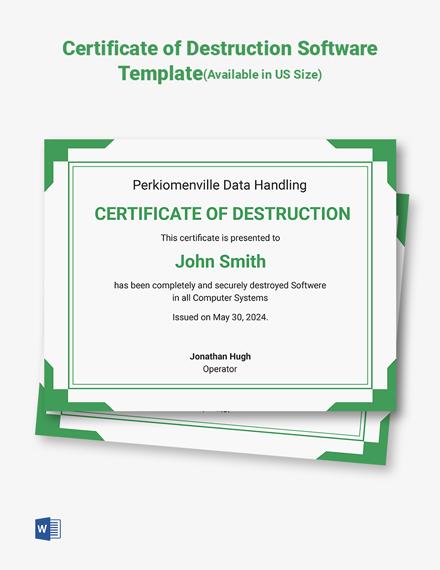 Certificate of Destruction Software Template