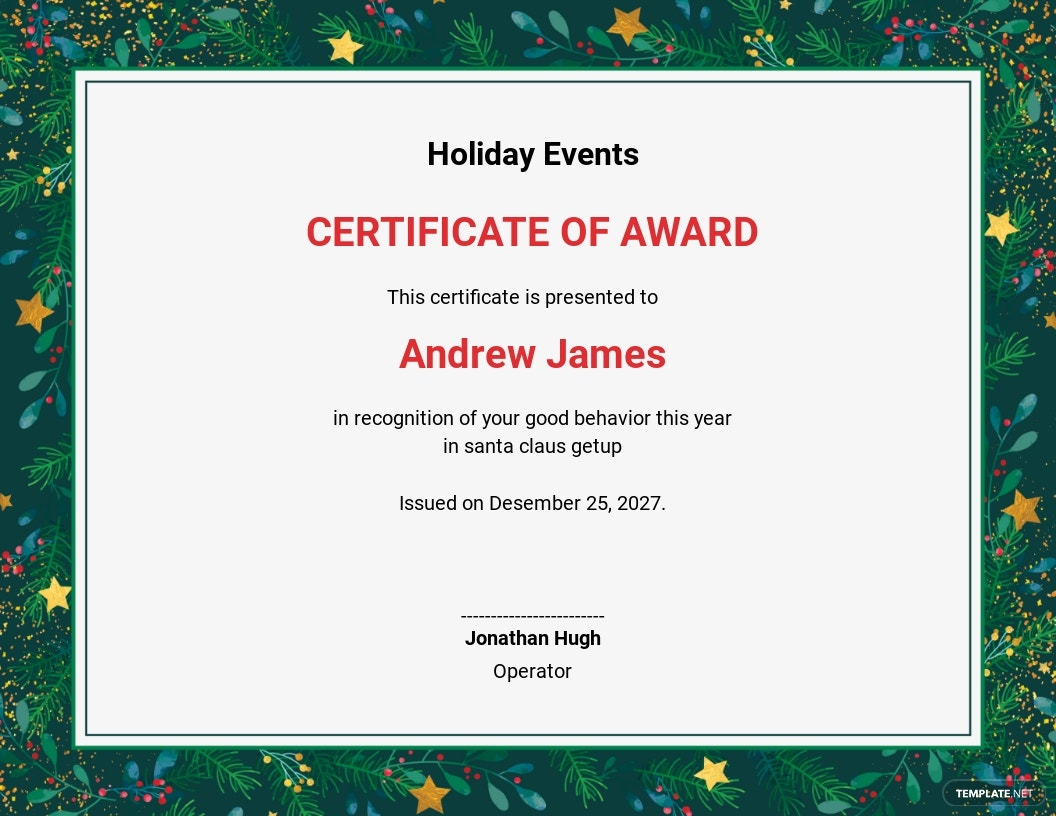 Holiday Award Certificate Template