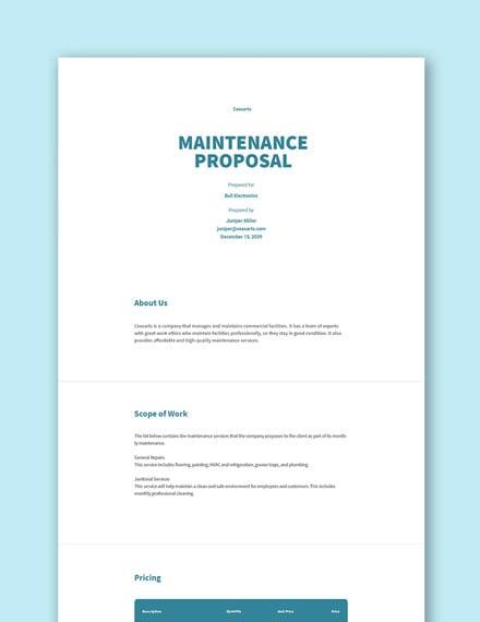 Free Maintenance Proposal Template