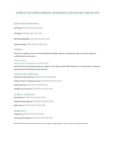 Employee Hiring HR Checklist