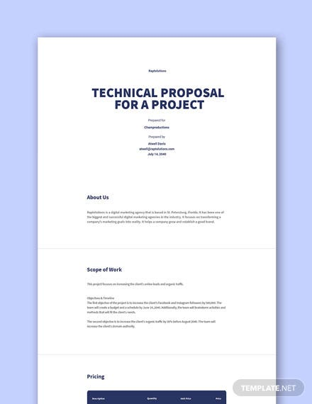 Free Sample of Technical Proposal for a Project Template