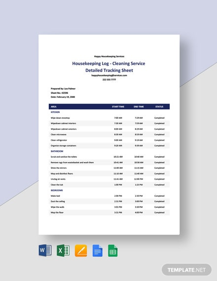 Housekeeping Log - Cleaning Service Detailed Tracking Sheet Template