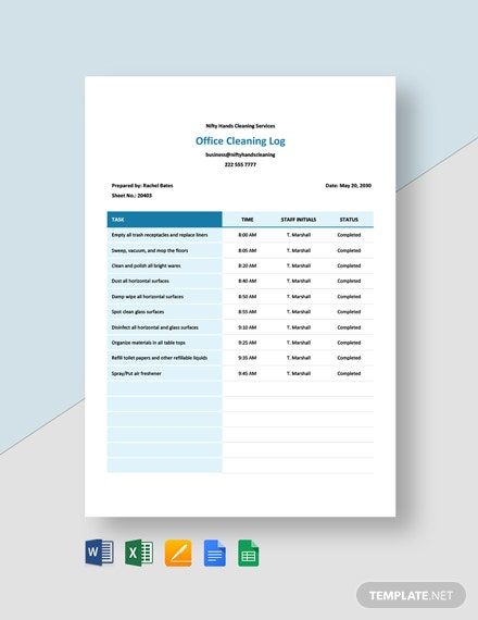 Office Cleaning Log Sheet Template