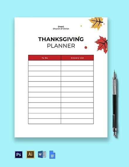 Thanksgiving Planner Template