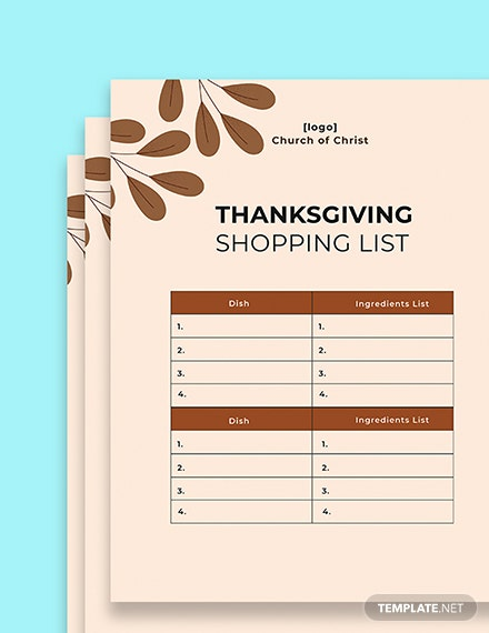 Thanksgiving shopping list template printable