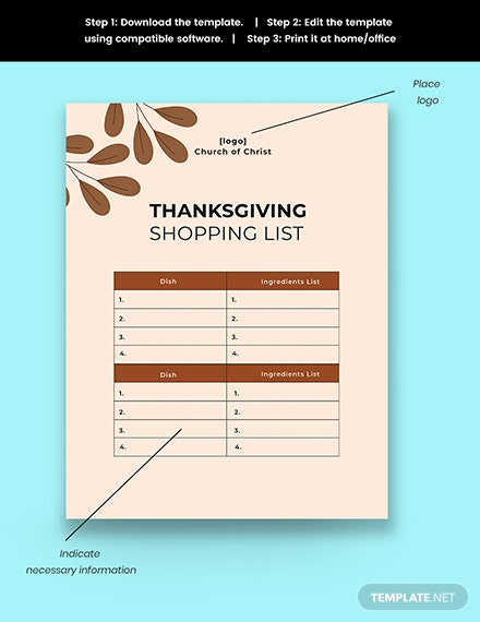 Thanksgiving shopping list template snippet