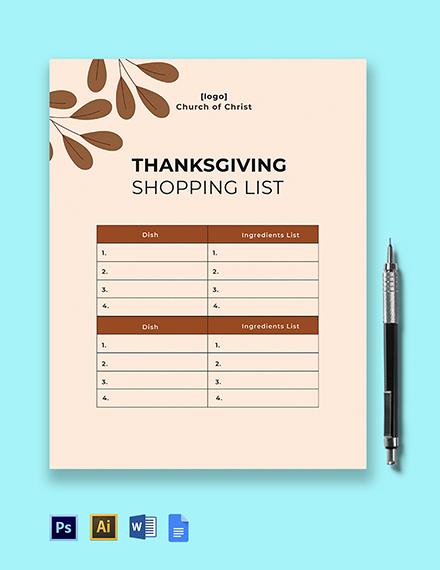 Thanksgiving Shopping List Template