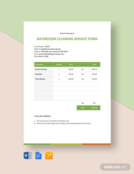 Cleaning Business Form Template