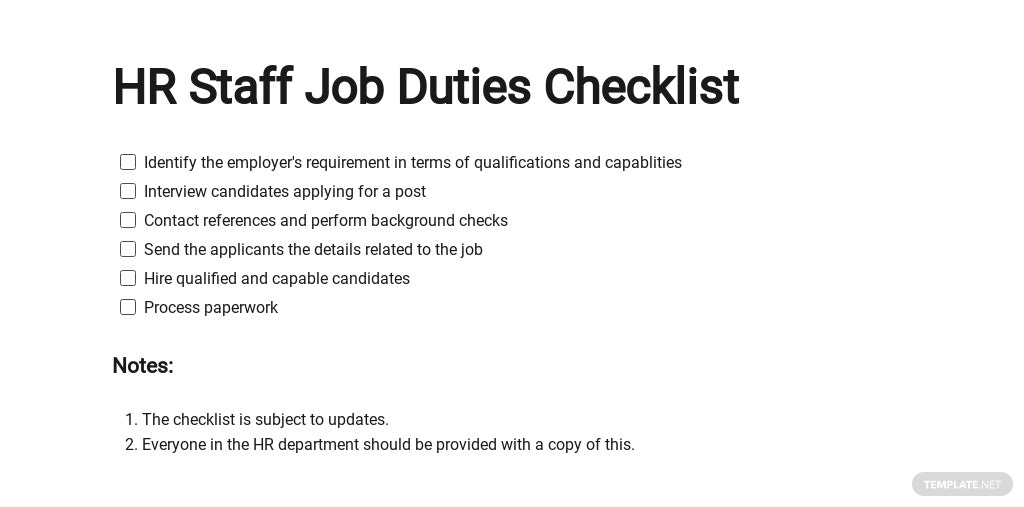 Free HR Staff Job Duties Checklist Template