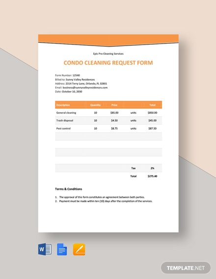 Cleaning Request Form Template