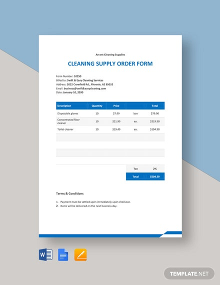 Cleaning Supply Order Form Template