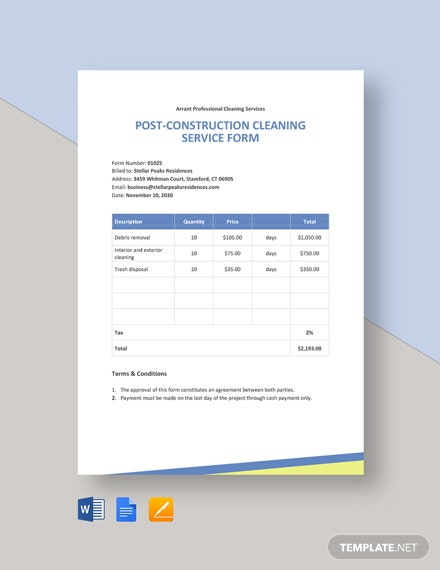 Professional Cleaning Business Form Template
