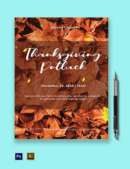 Thanksgiving Potluck Flyer Template