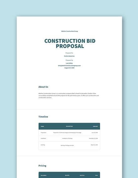 Free Construction Bid Proposal Template