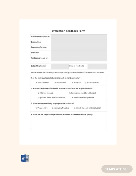 Free Blank HR Evaluation Feedback Form