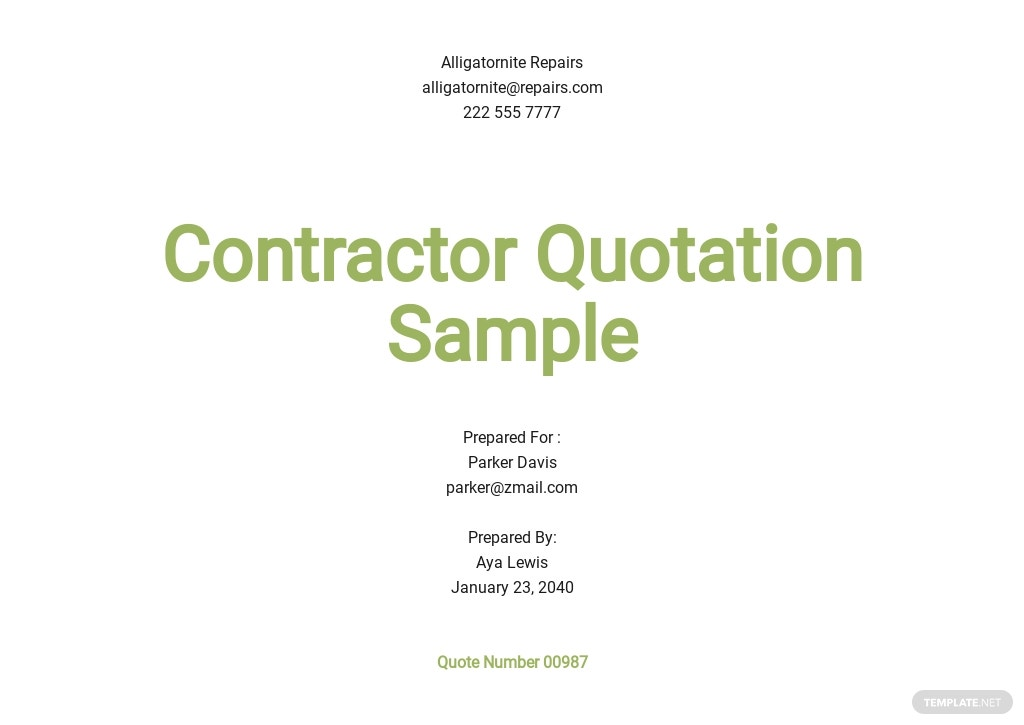 Contractor Quotation Sample Template