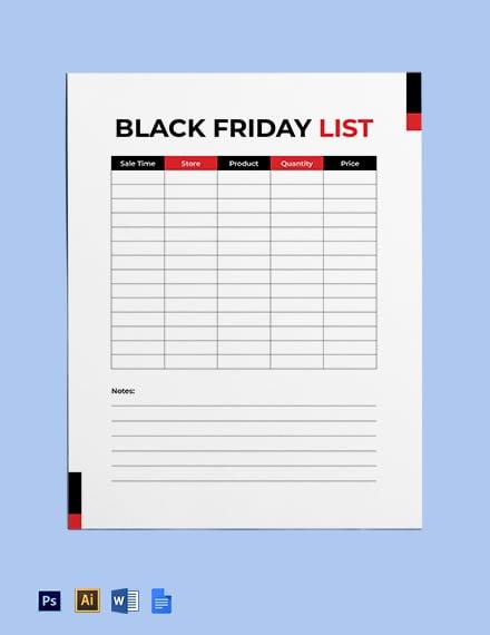 Black Friday List Template