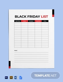 Black Friday List Template
