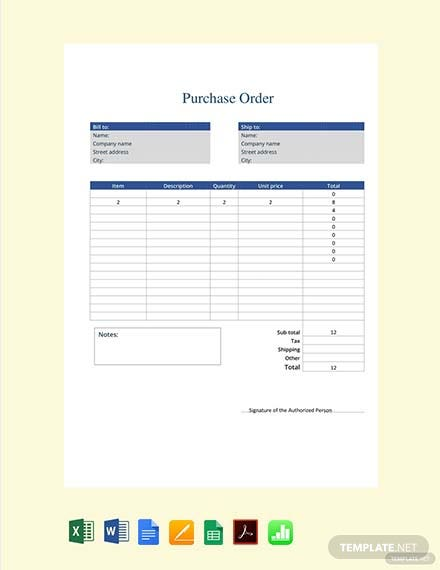 Free Purchase Order Form