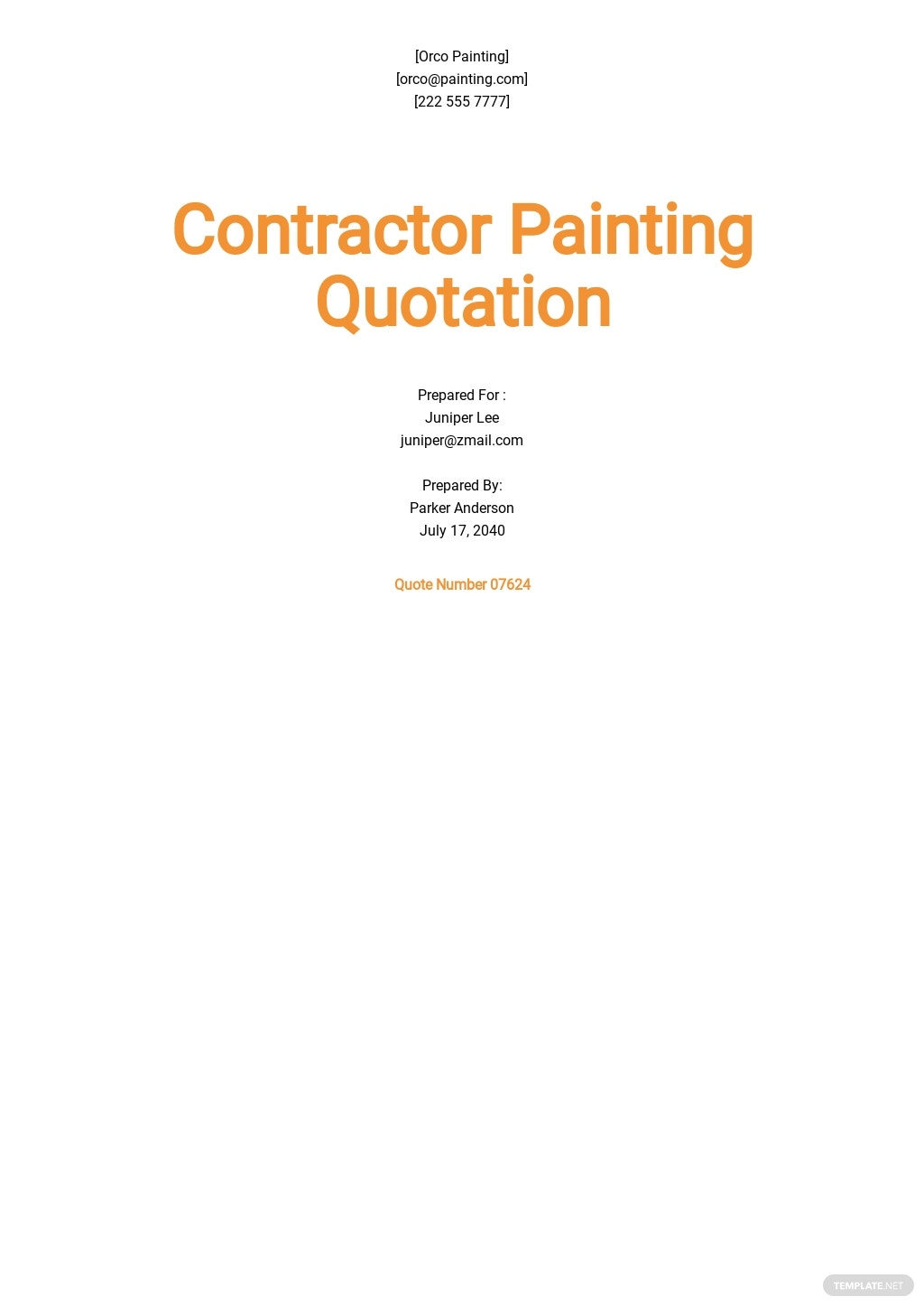 Contractor Painting Quotation Template