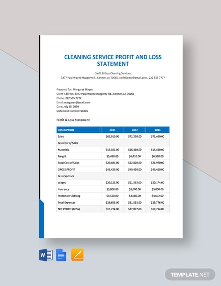 cleaning service profit and loss statement