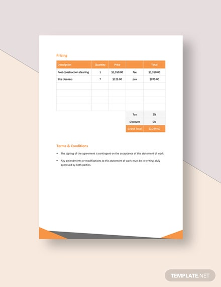 cleaning service statement of work Download