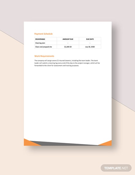 cleaning service statement of work Template